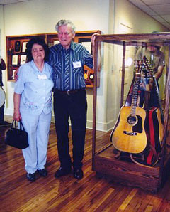Photo of Doc Watson  with  wife Rosa Lee at the Doc and Merle Watson Mountain Folk Art Museum.